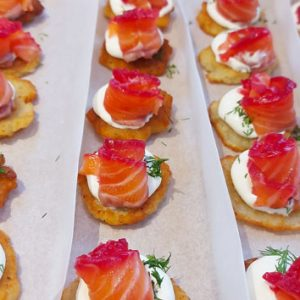Mini Draniki (potato rosti) with beetroot cured salmon, creme fraiche and dill (10 pieces)