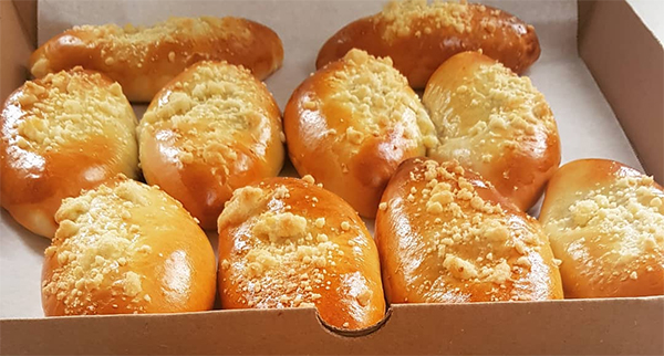 Sweet Stuffed Buns (Pirozhki) with cherry /OR/ apple, raisin & cinnamon filling