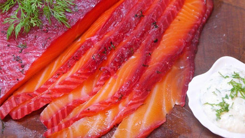 Vodka beetroot cured salmon (400g)