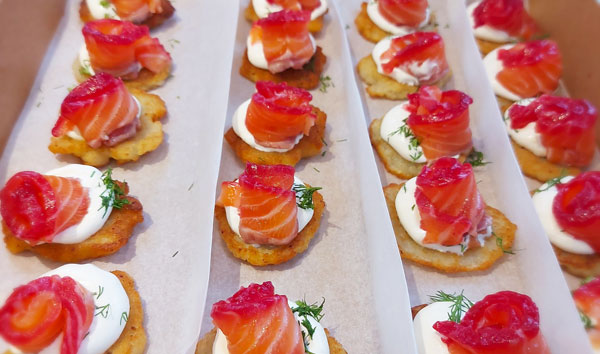 Mini Draniki (potato rosti) with beetroot cured salmon, creme fraiche and dill
