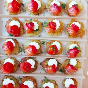 Mini Draniki (potato rosti) with beetroot cured salmon, creme fraiche and dill (20 pieces)